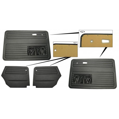 Deurpaneel set zwart vinyl met zakken 4 delig